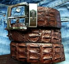 PREMIUM CROCODILE HORNBACK LEATHER MENS BELT IN BROWN Size available