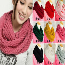 Knitted Hood Neck Circle Cowl Scarf Shawl Wool Wrap Loop Winter Warmer