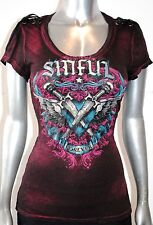 NWT SINFUL AFFLICTION women ARMY OF ONE SHORT SLEEVE U-NECK PINK/BLACK BRUSH