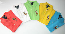 NEW Polo Ralph Lauren Toddlers Kids Girl Puff-Sleeved Big Colour Pony Shirt Tops
