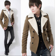 2013 Winter Mens Stylish  wool fur collar lapel Coat Jacket Double Breasted