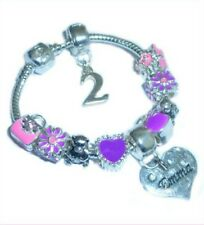 Childrens/Girls Personalised Name/Initial & Age Charm Bracelet Pink & Purple
