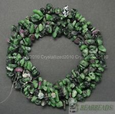 Natural Epidote Gemstones 5-8mm Chip Beads Spacer Loose 35'' Bracelet Necklace