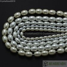 Top Quality Czech Glass White Pearl Oval Rice Loose Beads 6mm 7mm 8mm 9mm 16""