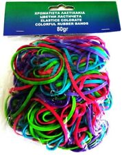 PACKAGE OF 45gr MULTI-USE COLORFUL NEON ELASTIC ASSORTED COLORS RUBBER BANDS