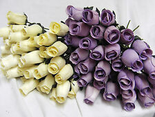 LILAC LAVENDER & CREAM WOODEN ROSES WHOLESALE WEDDING FLOWERS CRAFTS DECORATIVE