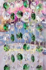 Green and Clear - Lead Glass Crystal - Octagon Chandelier - Prisms Chains