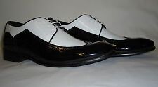 Harlem Knights 6262 NYE Party Shoes Shiny Patent Black & White Wingtip Spectator
