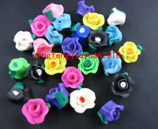 10/30/50 Pcs mixed fimo polymer clay rose flower beads 12x8mm New