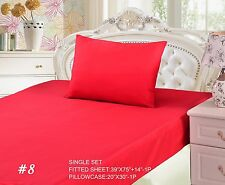 Tache 3 Piece Vibrant Red Fitted Sheet Set, Cal King, King, Queen, Twin