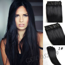 Clip In 100% Real Human Hair Extensions Jet Black #1 Full Head