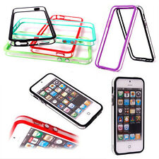 TPU+PC Bumper Frame Case Cover w/Metal Button For iPhone 5 5S