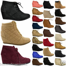 Women Wedge High Heel Booties Lace Up Round Toe Ankle Boots Cute Casual Shoes