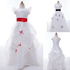 WHITE BRIDAL PARTY PAGEANT RECITAL GOWN FLOWER GIRL DRESS BRIDESMAID TODDLER NEW