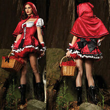 HOT Women Deluxe Sexy Little Red Riding Hood Fancy Dress Party Costume Halloween