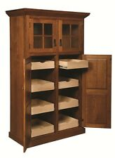 Amish Mission Stickley Rustic Kitchen Pantry Storage Cupboard Roll Shelf Wood