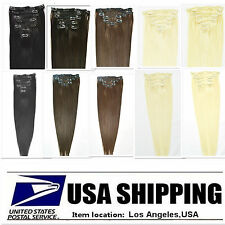 "US Home Shipping Fast Remy  20"" 7pcs Clip In Hair Real Human Hair Extensions 70g"