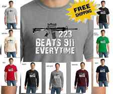 New 2nd Amendment AR15 Rifle Gun Rights 223 Beats 911 Political Mens T Shirt