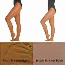 Shimmer Tights Full Footed Shiny Dance Show Freestyle In Suntan Toast Rumpf