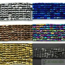 100Pcs Natural Magnetic Hematite Gemstone Faceted Tube Beads 5x8mm Metallic Pick