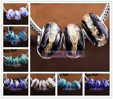 10/20pcs Lots Style Lampwork Glass Murano Big Hole Bead Fit European Bracelet