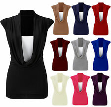 Womens Plus Size Gathered Cowl Neck Vest Ladies Sleeveless Long Top Sizes 8-26