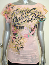 NEW TRUE LOVE SINFUL women FLORAL foil graphic ROSE TSHIRT boatneck pink *XS-L