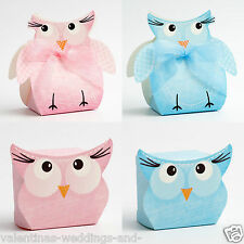 Best Quality DIY Baby Blue Pink Boy Girl Owl Christening Favour Favor Boxes