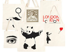 Urban Gifts Cotton Tote Bag Banksy Eco Friendly Natural Shopping Shoulder Bags