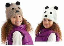 Girls Animal Face Beanie with Pom Pom ears Panda/Bear 3-11 yrs