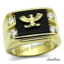 Men's US American Eagle Military 14k IP Gold Stainless Steel AAA CZ Ring Sz 8-14