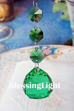 Two - Green - Lead Glass Crystal - 30mm Crystal Ball - Chandelier Prisms Pedant