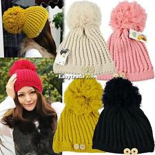 Woman Warm Winter Knitting Knitted Large Ball Pineapple Cap Beanie Hat new