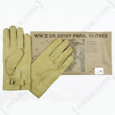 WW2 Repro US PARATROOPER LEATHER GLOVES - All Sizes M-39 Type 1 American Army