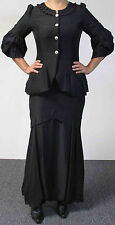 Design Today Highly  Textured Fabric Two-Piece Skirt Set in Black