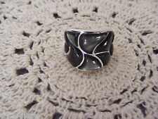 STERLING SILVER MOTHER-OF-PEARL BOLD INLAY BAND RING SIZES ~ 5, 8, 9, 10