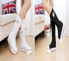 PUNK EMO Women Girl Shoes Zip Lace Up  Platform Boot Canvas Sneaker Knee High