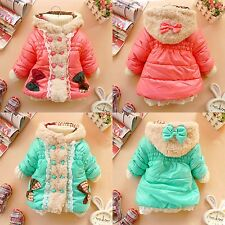Baby Winter Hoodies Butterfly Ribbon Girl Coat Kids Jacket Outerwear 12M-4T PHD