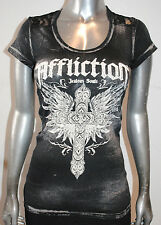NWT AFFLICTION women Scrutiny TShirt LACE AW7068 Embellished SCOOP neck Tee XS-L