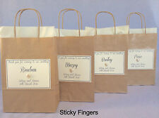 Personalised Empty Brown & Cream Paper Wedding  Favour Party Gift Bags Present