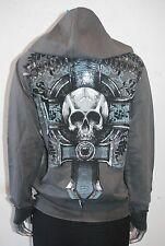 NWT Xtreme Couture by AFFLICTION WOMEN calera ZIP HOODIE skull cross FOIL LARGE