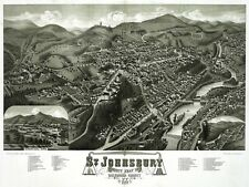 2787.St. Johnsbury Vertmont 1884 Aerial View Map POSTER.Home School Office Decor