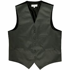 New Men's tuxedo vest waistcoat only dark gray wedding prom XS to 4XL