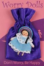 PRETTY MINI TINY WORRY DOLL POCKET FRIEND IN SATIN BAG HAND MADE IN COLUMBIA