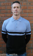 ART GALLERY CLOTHING BLUE & BLACK  KNITTED WOOL POLO MOD SCOOTER SOUL  60'S SKA
