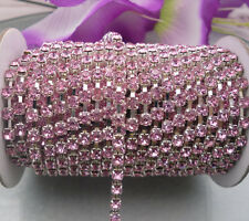 10 yards Light pink crystal glass rhinestone close Silver chain trims Applique