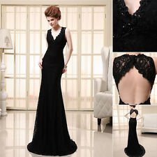 New Black V-neck Backless Party Prom Dresses Lace Mermaid Formal Evening Dresses