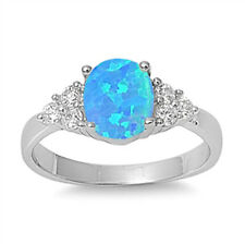 Sterling Silver Ring - Lab Opal Stone - RO150318-BO