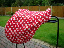 FLEECE RED STARS SADDLE COVER ALSO AS RIDE ON & DRESSAGE