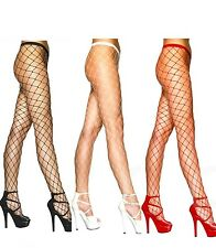 Fishnet Tights Nude White Purple Black Fence Net Roller Derby Burlesque Punk Emo